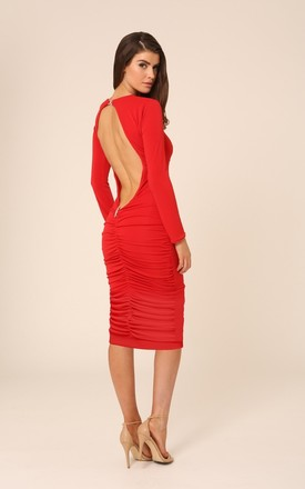 Bella Red Backless Midi Dress With Long Sleeves by Honor Gold Product photo