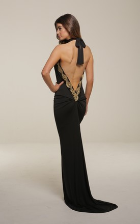 Sasha Black Backless Maxi Dress With Train by Honor Gold Product photo