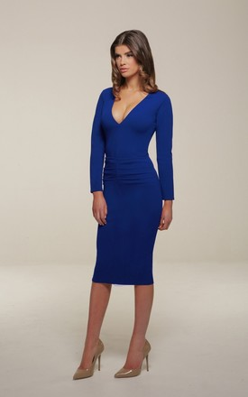 Kelsey Blue Midi Dress With Long Sleeves by Honor Gold Product photo