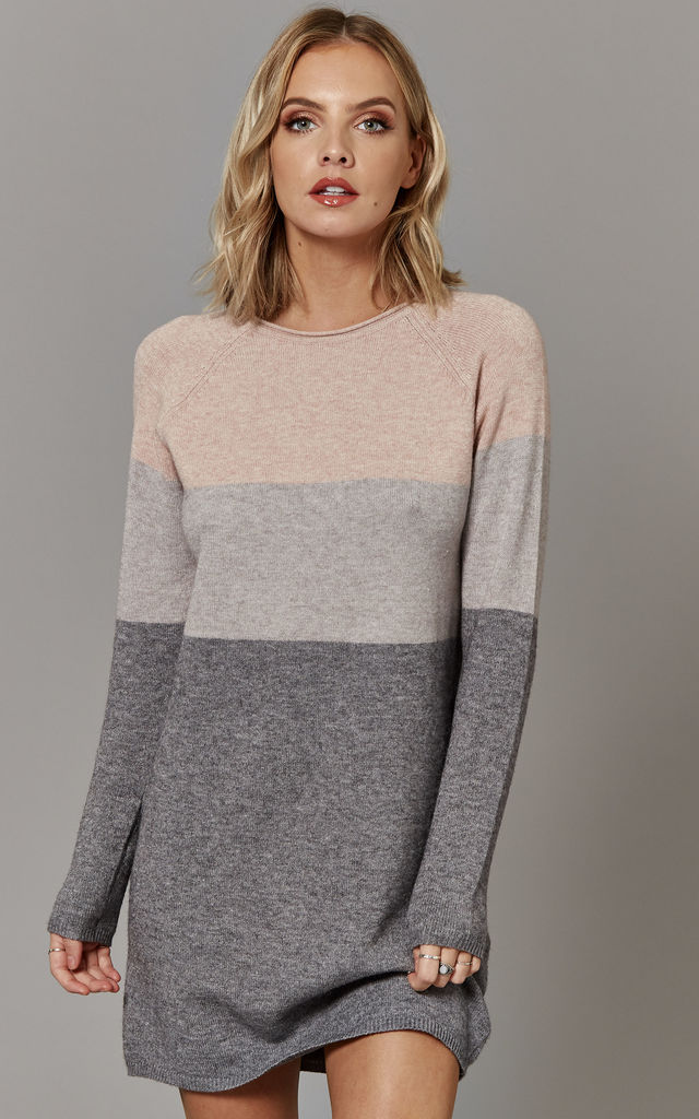 Mahogany Rose Colour Block Long Sleeve Jumper Dress by ONLY