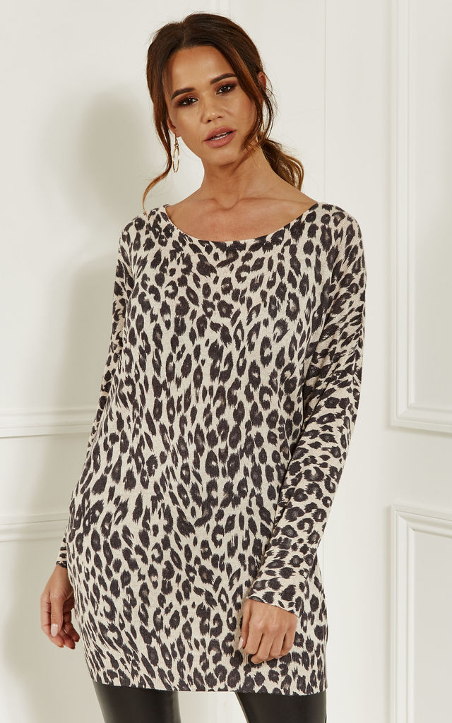 81a119ed1e7 Black Leopard Print Oversized Knitted Top by Lilah Rose