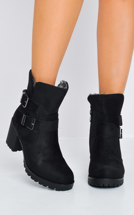 Faux Fur Lined Cleated Sole Block Heel Suede Ankle Boots Black by LILY LULU FASHION