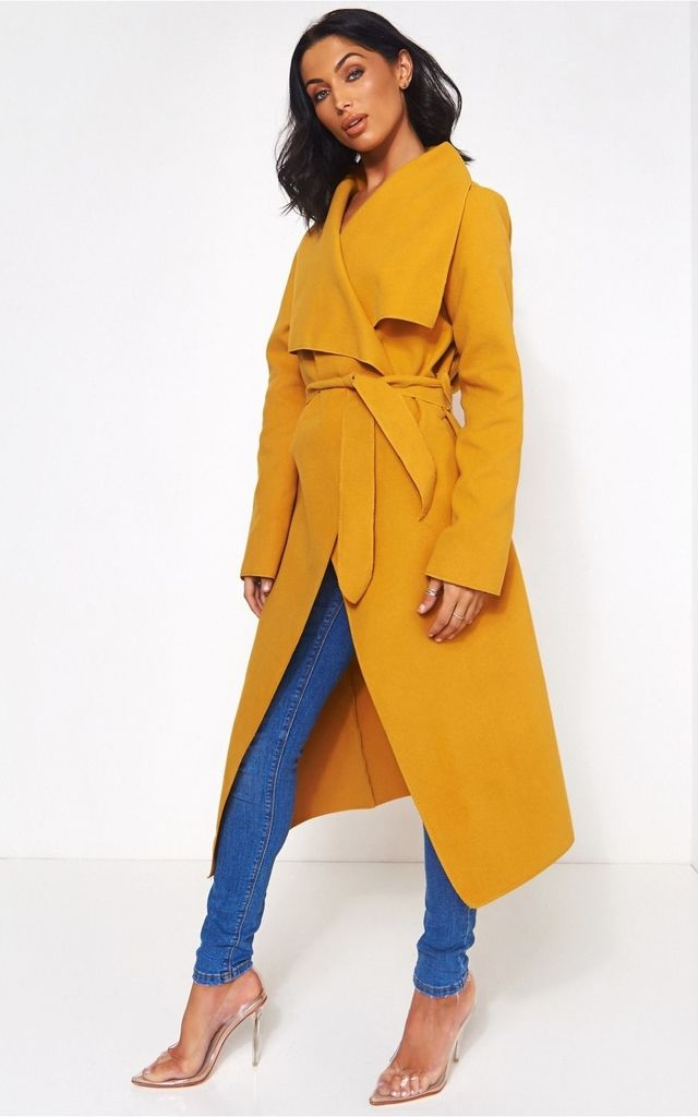 Khloe Mustard Waterfall Coat by The Fashion Bible