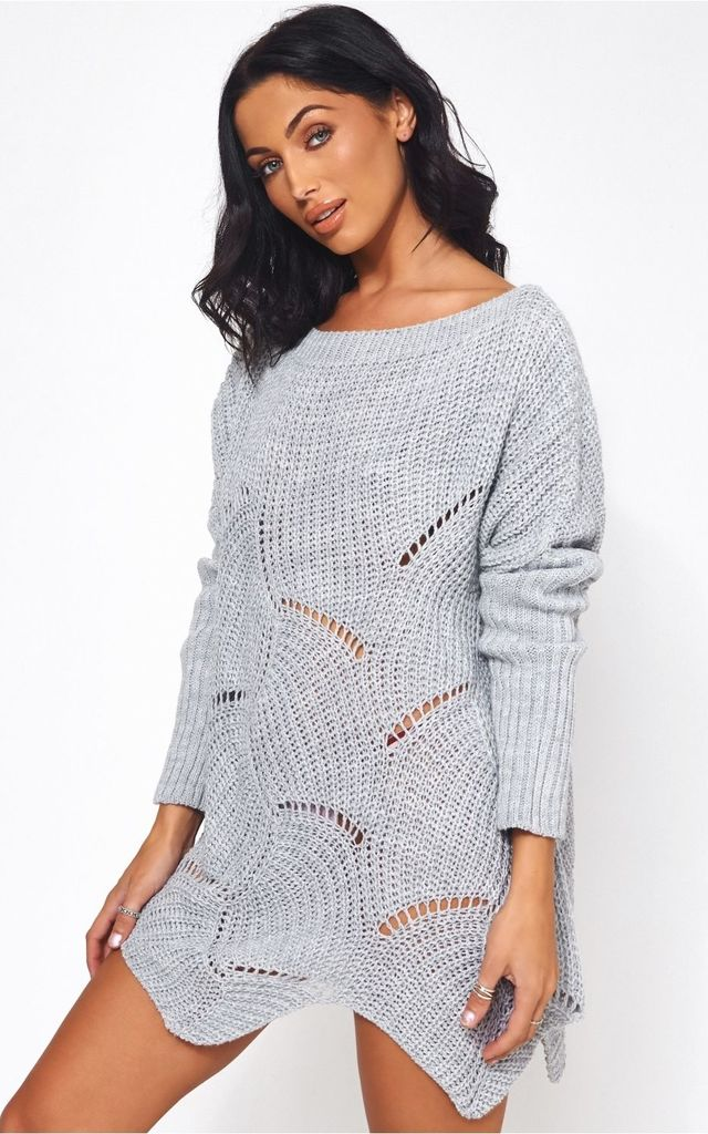 Eloise Grey Ribbed Sleeve Jumper by The Fashion Bible