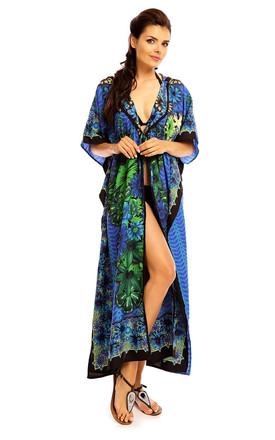 Full Length Maxi Hooded Kimono Kaftan in Green by Looking Glam