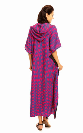 Hooded Kaftan in mixed print by Looking Glam