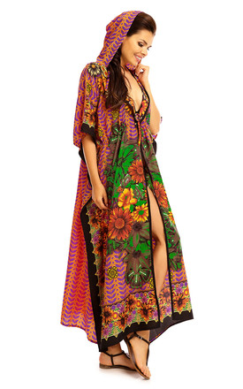 Full Length Maxi Hooded Kimono Kaftan in Yellow by Looking Glam