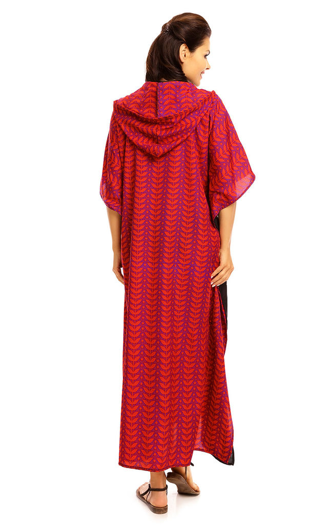 Full Length Maxi Hooded Kimono Kaftan in Purple by Looking Glam