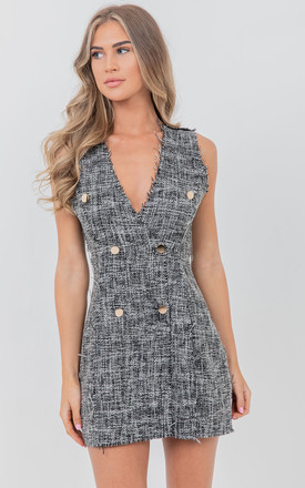 Grey V Neck Double Breasted Mini Dress by Saint Genies