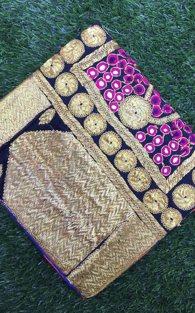 Banjara Square Clutch - Black n' Gold by SNAZZY LONDON