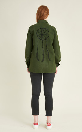Yosemite organic cotton military style jacket with dreamcatcher embroidery by VILDNIS
