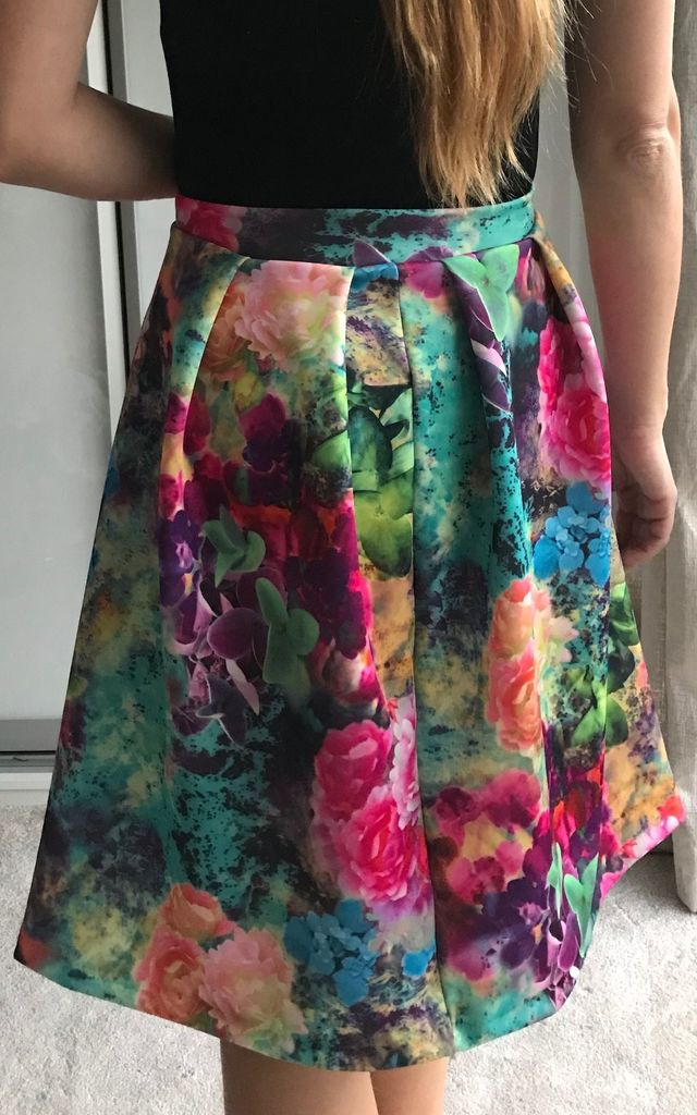 Floral Print Midi Skater Skirt perfect for a Wedding by TwisT Fashion