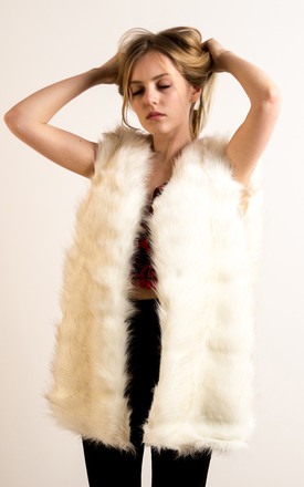 Super soft faux fur oversized gilet jacket in cream white color by CY Boutique