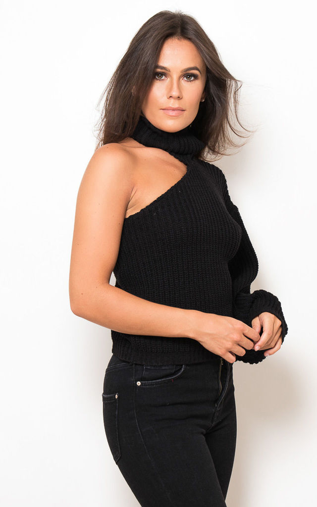 Nadia One Sleeve Roll Neck Jumper Black by Girl In Mind