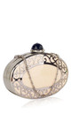 Oval ornate silver metal work clutch evening bag by Hello Handbag
