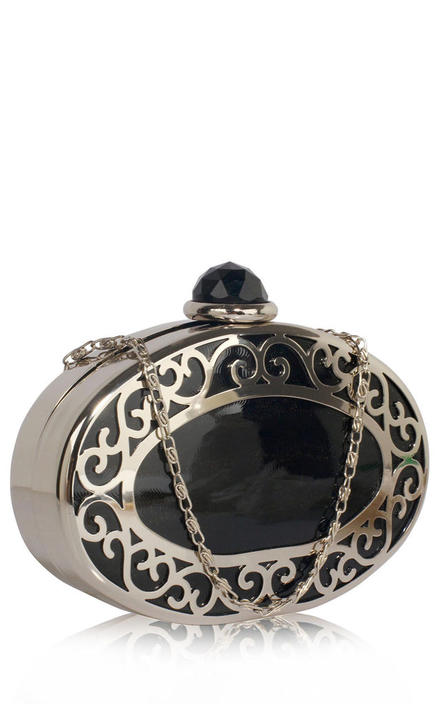 Black ornate silver black oval evening clutch bag by Hello Handbag