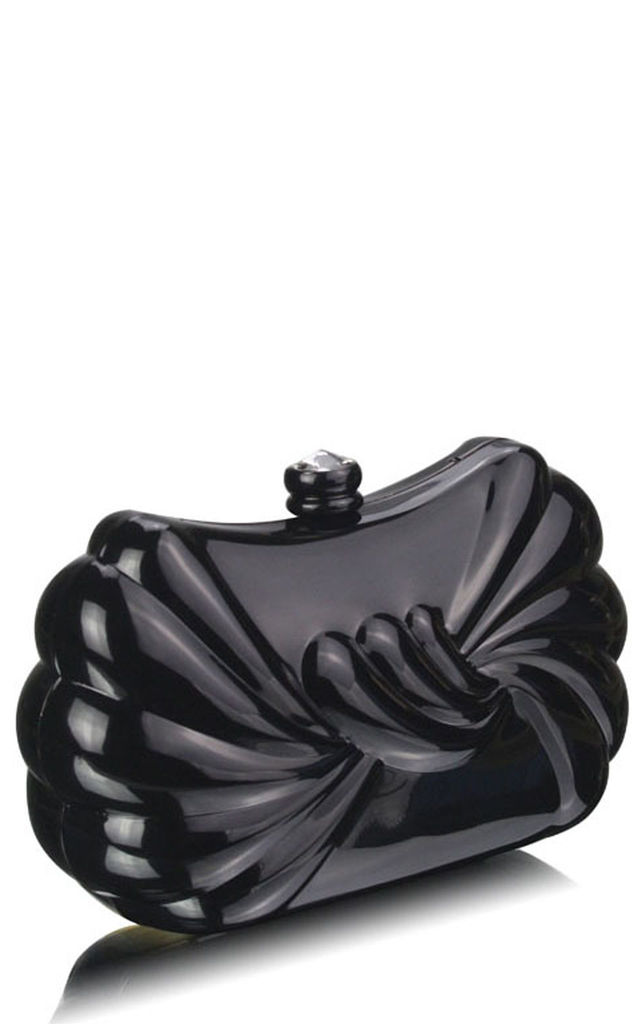 Black twist matt metal evening clutch bag by Hello Handbag