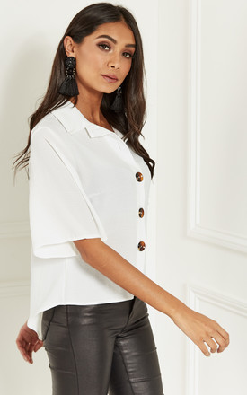 Ivory Button Down Cropped Front Shirt by Lilah Rose