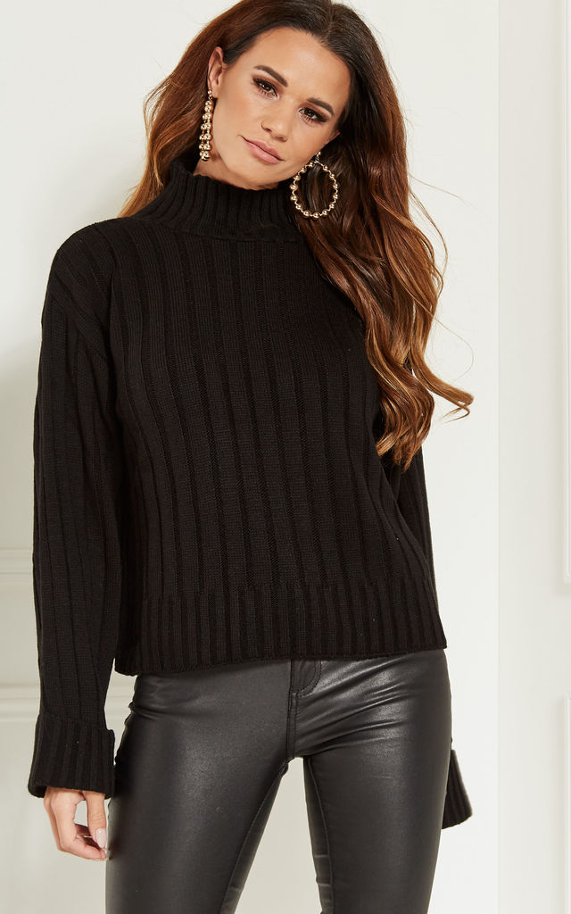 Black Knitted Jumper With Cuff Turn Up Sleeve by Bella and Blue