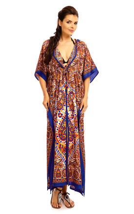 Full Length Maxi Hooded Kimono Kaftan in Blue by Looking Glam
