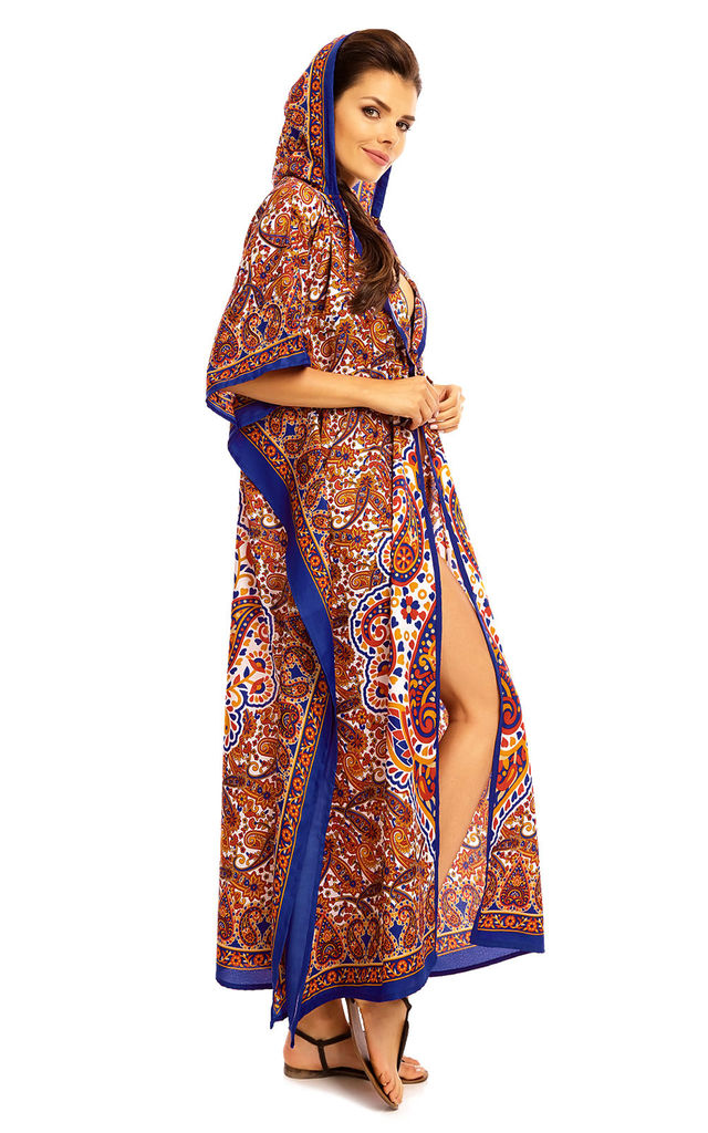 Ladies Full Length Maxi Hooded Kimono Kaftan Dress by Looking Glam