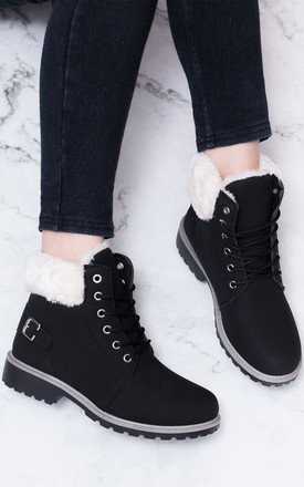 Morgan Lace Up Flat Combat Worker Walking Ankle Boots Shoes   Black Leather Style by SpyLoveBuy Product photo