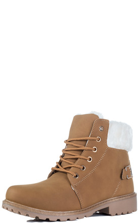 MORGAN Lace Up Cleated Sole Flat Combat Worker Walking Ankle Boots Shoes - Tan Leather Style by SpyLoveBuy