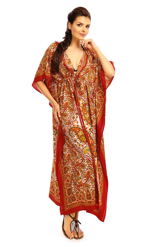 Full Length Maxi Hooded Kimono Kaftan in Red by Looking Glam