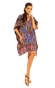 Kaftan style mini dress in mixed print by Looking Glam