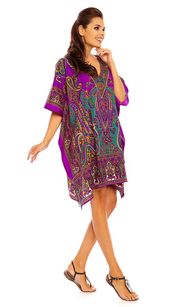 Oversized Kaftan-style  Tunic in Purple by Looking Glam