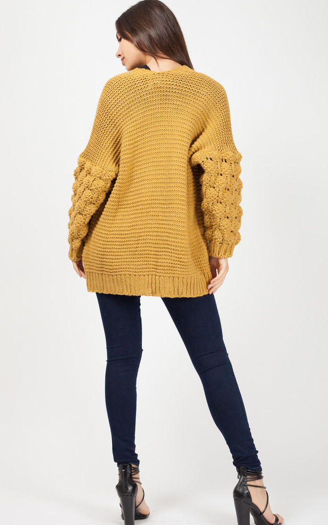 Naila Bobble Sleeve Knitted Cardigan In mustard by Vivichi