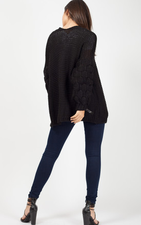 Naila Bobble Sleeve Knitted Cardigan In Black by Vivichi