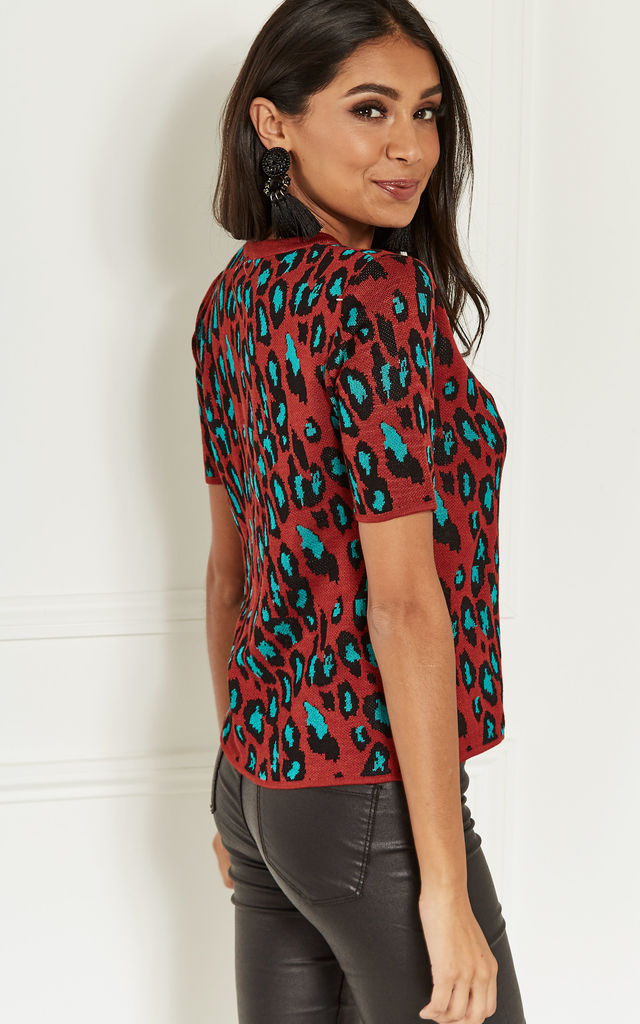Red and Blue Leopard Knit Top by Lilah Rose