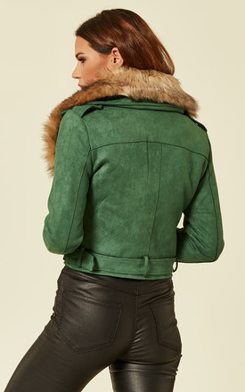 Green Jacket With Faux Fur Collar by Liquorish