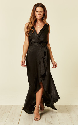 Wrap Front Satin Maxi Dress In Black by FLOUNCE LONDON Product photo