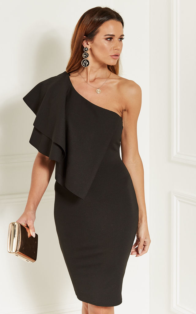 Black One Shoulder Ruffle Dress by Bella and Blue