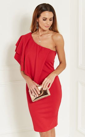 Red One Shoulder Ruffle Dress by Bella and Blue Product photo