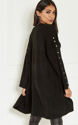 Black Oversized Long Cardigan With Pearl Sleeve Detail by Lilah Rose