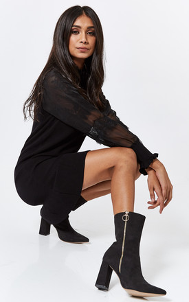 Black Faux Suede Block Heel Boots With Zip Detail by Truffle Collection Product photo