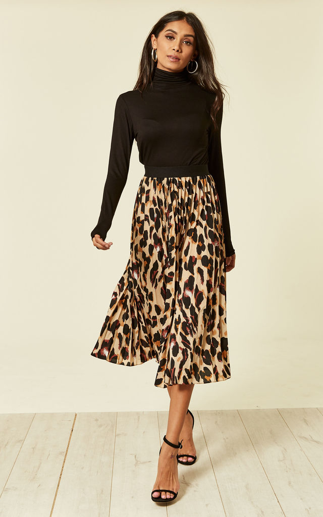price Sales promotion limpid in sight Leopard Print Pleated Skater Skirt By Foreva Young