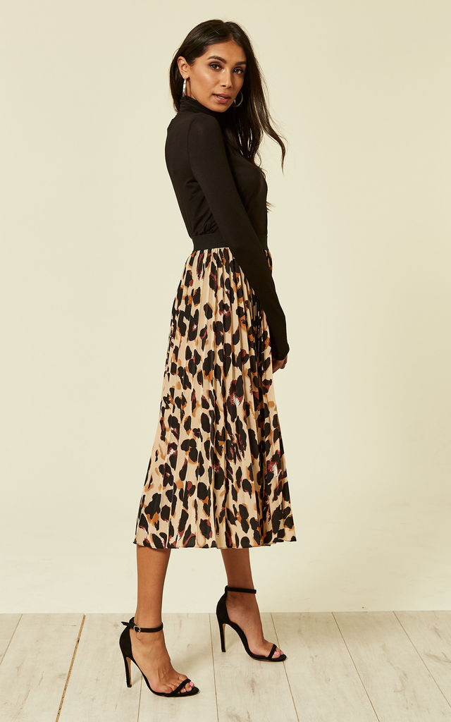 Leopard Print Pleated Skater Skirt by Foreva Young
