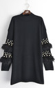 Jumper with Faux Fur and Pearl Embellished Sleeves in Black by CY Boutique