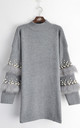 Jumper with Faux Fur and Pearl Embellished Sleeves in Grey by CY Boutique