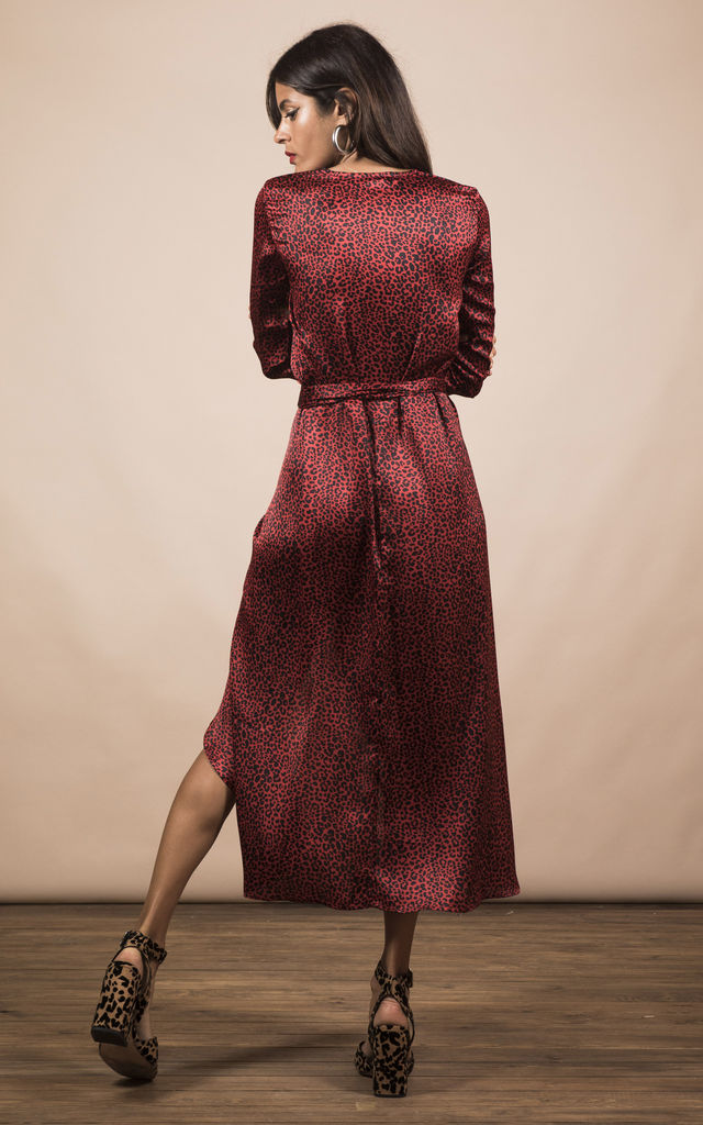 YONDAL DRESS IN SMALL RED LEOPARD image