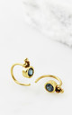 Holi Jewel Stud Hoops - Gold and Sapphire by Charlotte's Web