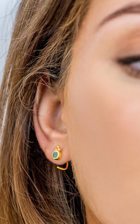 Holi Jewel Gold Gemstone Stud Hoops In Emerald by Charlotte's Web Product photo
