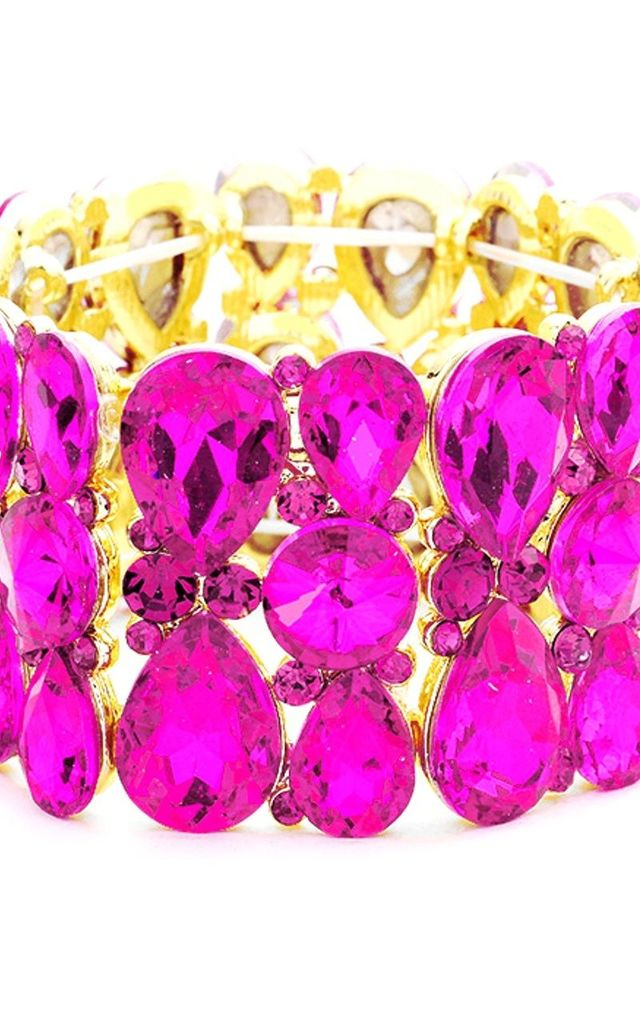 Hot Pink Crystal Jewelled Stretch Bracelet by Olivia Divine Jewellery