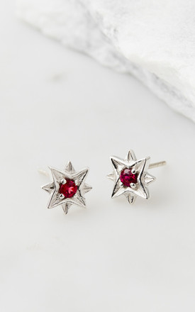 Guiding North Star studs - Silver Rhodolite by Charlotte's Web
