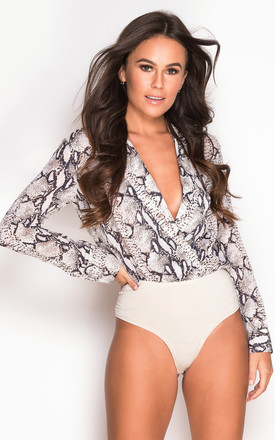 Ayla Wrap Collar Bodysuit Long Sleeve Snake Print by Girl In Mind Product photo