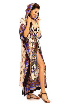 Ladies Full Length Tribal Maxi Hooded Kimono Kaftan Gown by Looking Glam
